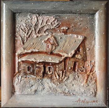 """Создаем объемные картины из картона """"Домик в деревне"""""""