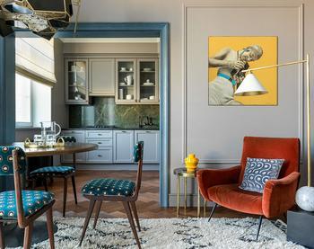 Игра цвета в элегантной московской квартире 80 кв. м