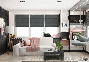 Подвесное кресло, камин, спальня за перегородками — исполняем мечты владельцев квартиры в «Маяке Минска»