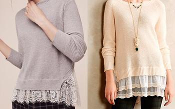 Как удлинить пуловер с помощью кружева