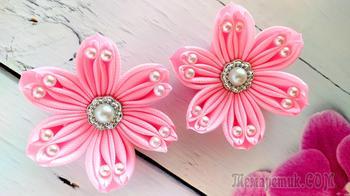 Цветочки зефирки из лент. Мастер класс Канзаши