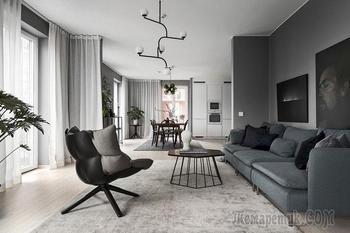 Жизнь в сером: стильные апартаменты в Стокгольме (120 кв. м)