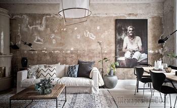 Шведская квартира с богемной гостиной и уютной верандой