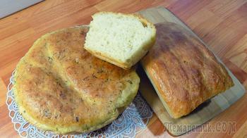 Домашний хлеб на свежих дрожжах приготовленный в духовке