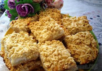 Тёртый пирог с творогом и яблоками