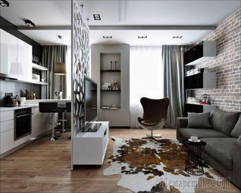 Проект интерьера квартиры-студии 30 кв. м.