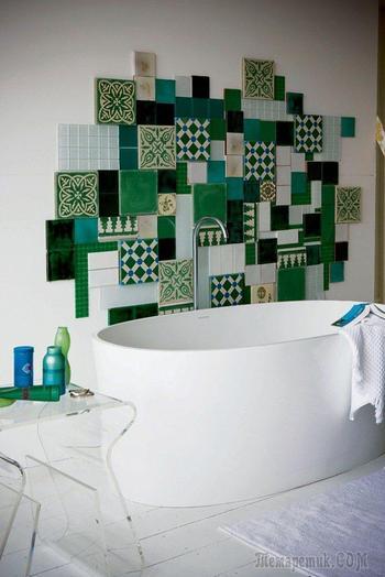 30 интересных идей оформления стены за душевой шторкой