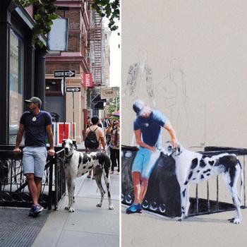 Художница-самоучка изображает жителей Нью-Йорка, которые встречаются ей на улице
