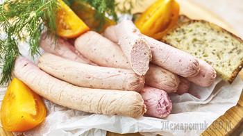 Курица + молоко + свекла = домашние молочные сосиски за 30 минут без специальных приспособлений