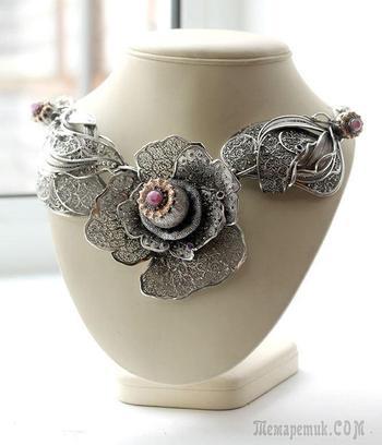 Создание филигранного колье из серебра и золота