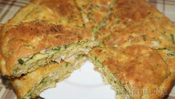 Заливной пирог с курицей и зелёным луком