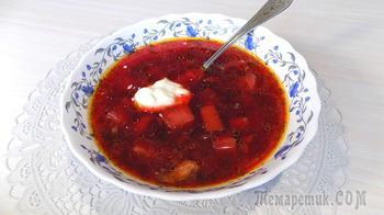 Суп свекольник на курином бульоне с куриным мясом