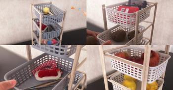 Полезная идея из деревянных палочек и пластиковых корзин