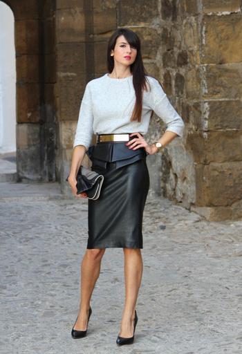 С чем носить кожаную юбку карандаш