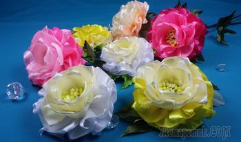 Простые цветы из лент. МК