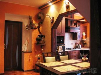 Кухня: атмосферный интерьер в доме охотника