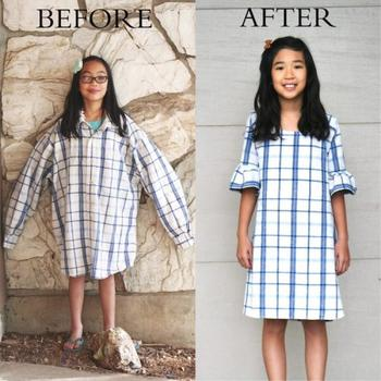 Мать-рукодельница перешивает старую одежду в стильные вещи