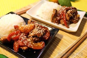 Свинина по-азиатски с мандаринами