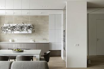 Теплый минимализм в дизайне квартиры в Москве (100 кв. м)