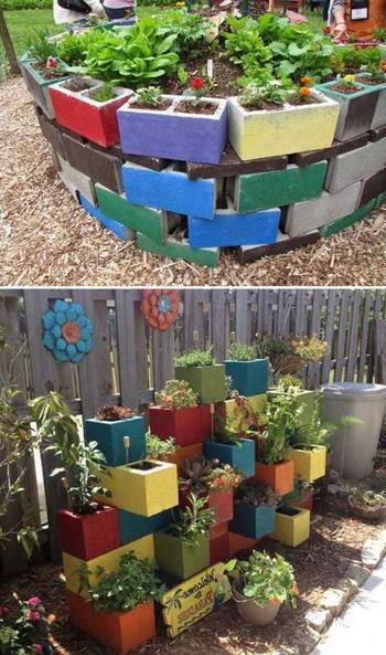Идеи дизайна сада из шлакоблоков на дачном участке