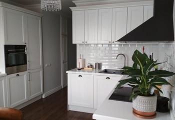 Белоснежная кухня с черными акцентами