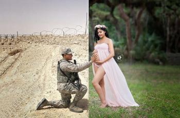 Трогательный снимок беременной и ее мужа-военного