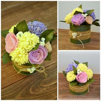 Создаем очаровательный букет цветов из фетра