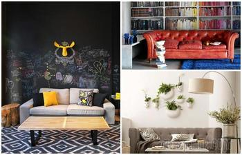 15 идей стильного оформления стены за диваном