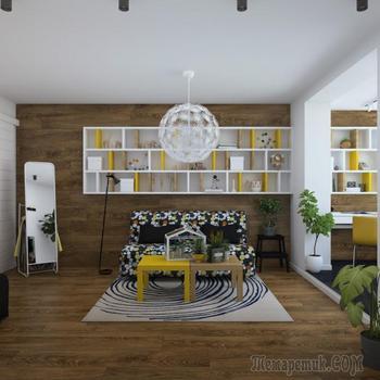 Дизайн однокомнатной квартиры с лоджией