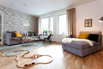 Шведский стиль в интерьере трехкомнатной квартиры