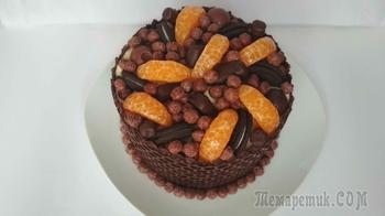Шоколадный торт с воздушным мандариновым кремом