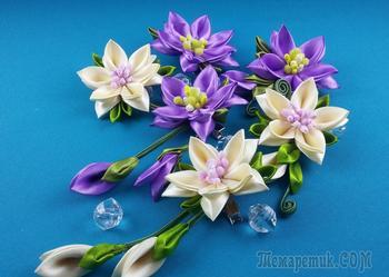 Цветы из лент: набор заколок. МК