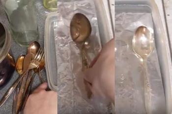 Как быстро очистить столовые приборы от налёта с помощью фольги, соды и соли
