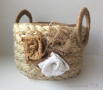 Плетеная корзинка из джутовой веревки