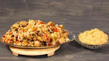 Манговый соус и блюдо с ним: рис с овощами и карбонадом
