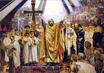 В каком году произошло крещение Руси, и какое влияние это оказало на дальнейшее развитие страны?