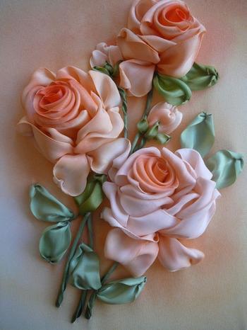 Вышивание разных цветов и букетов с помощью лент