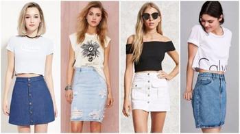 Модные образы с джинсовой юбкой на лето 2020