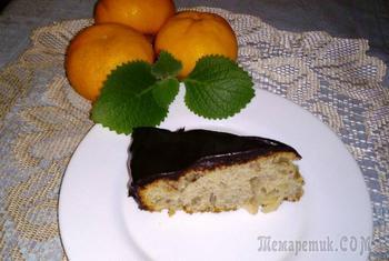 Бананово яблочный пирог с шоколадной глазурью