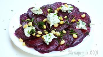 Салат из свеклы с чесноком, орехами и сыром на новый год