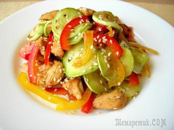 Салат-новинка «Причуда» с кабачками и курицей