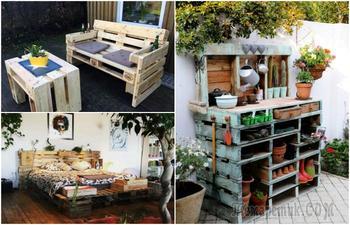 19 фантастических изделий из поддонов, которые станут оригинальным украшением для дома и сада