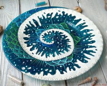 Создаем тарелку «Новая волна» в смешанной технике