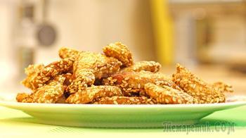 Куриный козинак: куриное филе, обжаренное в кунжуте