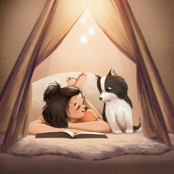 Отдых в компании животных в позитивных иллюстрациях немецкой художницы-самоучки