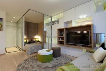 Интерьер однокомнатной квартиры с спальней 35 кв. м.