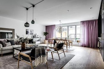 Современный интерьер с фиолетовыми акцентами в Стокгольме (93 кв. м)
