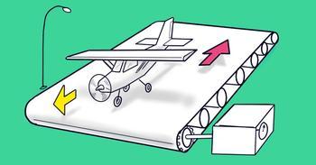Непростая задачка: сможет ли взлететь самолет с ленты транспортера?