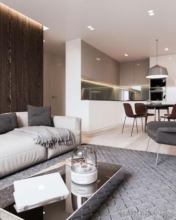 Строгий интерьер апартаментов в Минске