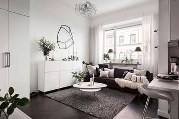 Черно-белая двухкомнатная квартира в Швеции (37 кв. м)